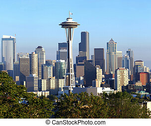 Seattle skyline at sunset - A view of Seattle Washington...