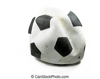 soccer ball - old deflated soccer ball
