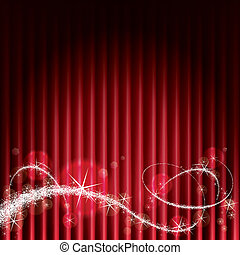 Magic Stage - Red stage background with Magical Sparkles