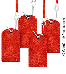 price tags - Red price tags with fishing hook isolated on...