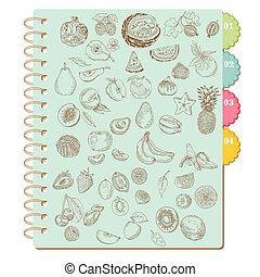 Scrapbook Design Elements -Set of Various Fruits - in vector