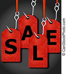 price tags with sale word and fishing hook