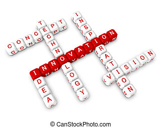 Crossword bussiness innovation concept 3d object