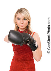 Beautiful blond lady in boxing gloves