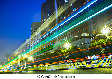 Nightscape Downtown  with  headlights trails
