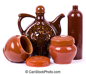 Clay pots isolated