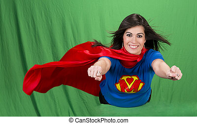 Super Mother on Green Screen - Beautiful woman plays super...