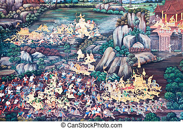 Kaew, Phra, ściana, ścienny, Bangkok, Thaï, Wat, Malarstwo...