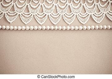 encaje, perlas, vendimia, Plano de fondo