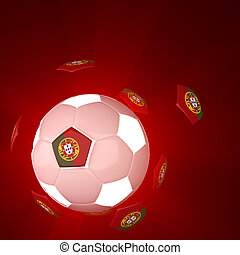 Portugal flag on 3d Football
