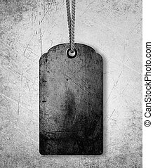 Blank price tag - grungy gray price tag background, sale or...