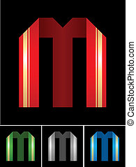 ABC font from coloured set paper ribbon-Latin letter M