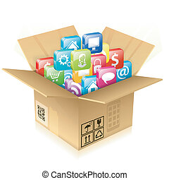 Cardboard Box with Set of Icons - Open Cardboard Box with...