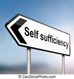 Self sufficiency. - illustration depicting a sign post with...
