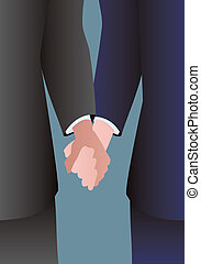 Male couple holding hands - Detail of a well dressed male...