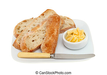 Rustic bread on a plate