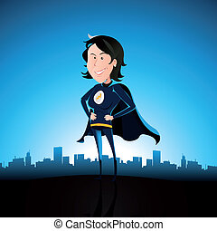 Cartoon Blue Super Lady
