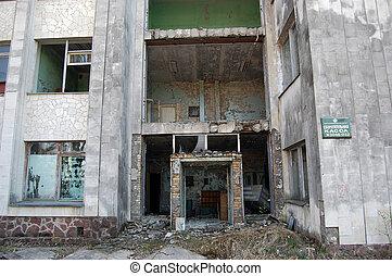 Chernobyl area - Lost city Pripyat Modern ruins Ukraine Kiev...