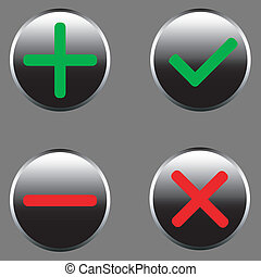 Set of icons - a choice, refusal, addition, removal