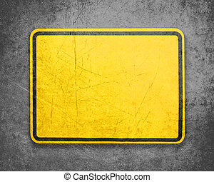 Yellow Sign - Empty Yellow Sign, attention and alert sign
