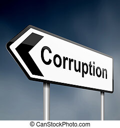 Corruption concept - illustration depicting a sign post with...
