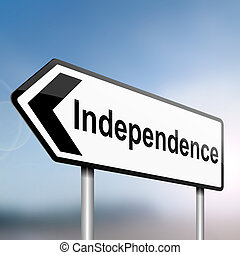 Independence - illustration depicting a sign post with...