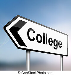 College concept - illustration depicting a sign post with...