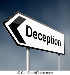 Deception concept - illustration depicting a sign post with...