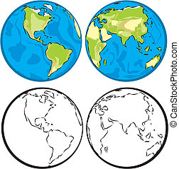 eastern and western hemisphere - earth globe, globe vector,...