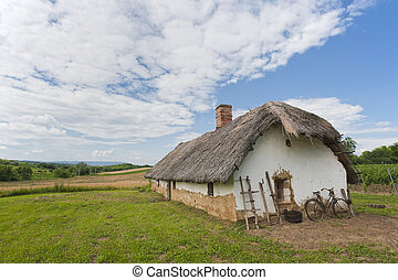 Old farm house with bicycle - A reed-covered roof of a...