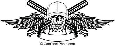 skull in baseball cap and wings