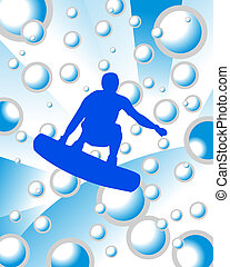 Surfer on water background