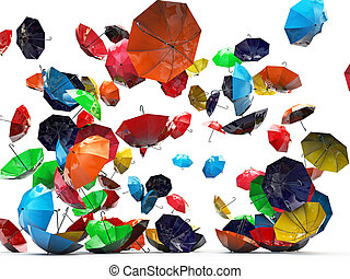 umbrellas isolated on white background