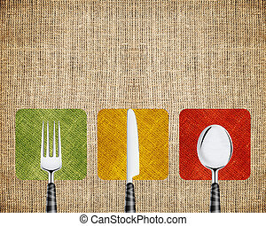 Restaurant menu cover design with knife, spoon and fork