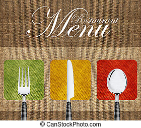 Restaurant menu cover design with knife, spoon and fork.