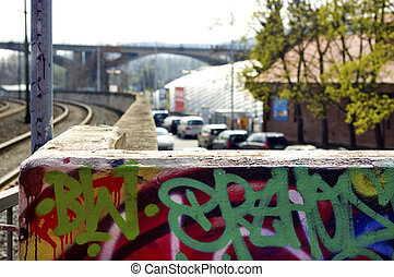 Wall with graffity on the urban background - Wall with...