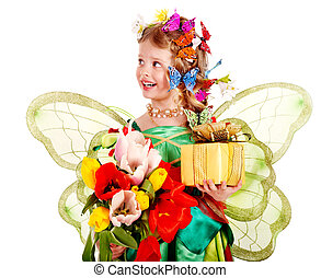 Child with flower and butterfly. - Little girl with wings...