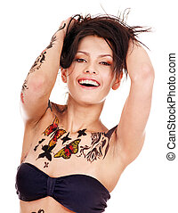 Girl with body art - Young woman with body art