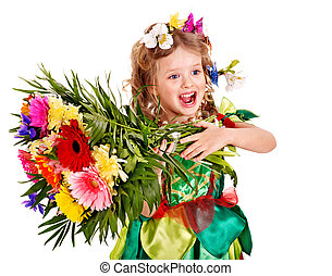 Child with flower and butterfly.