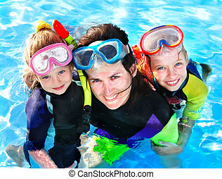 Children with mother in swimming pool. - Children with...