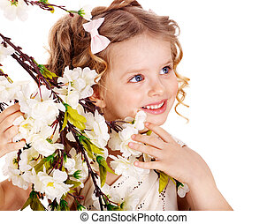 Child with spring flower. - Little girl with spring flower ....