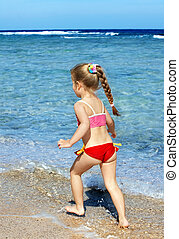 gyalogló, tengerpart, gyermek