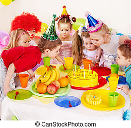 Child birthday party . - Children happy birthday party .