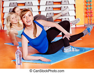 Happy women in aerobics class. - Happy women group in...