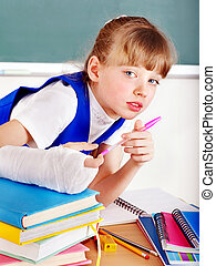 Child with broken arm - Child with broken arm in school