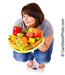 Girl weight loss on scales. - Woman weight loss on scales....