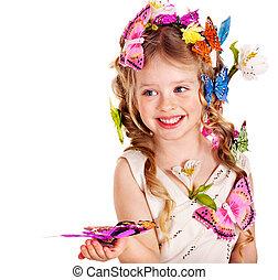 春, ヘアスタイル, 蝶, 子供