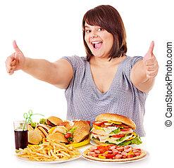 婦女, 吃, 快, 食物