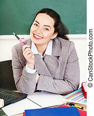 Woman in classroom.