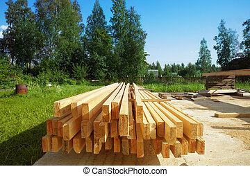 boards - new board to build a house in the stack, on a...